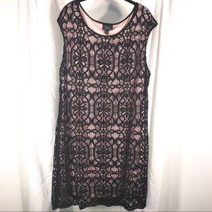 Pink and Black Lace Dress, Size 24W